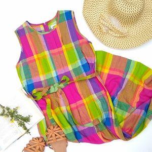 Vintage • retro bright plaid pin-tuck maxi dress